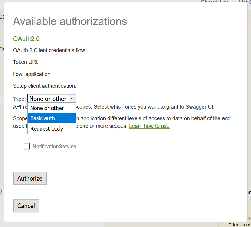 Screenshot showing the authentication dialog for a Swagger endpoint.